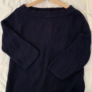 JCrew cropped boat neck sweater NAVY